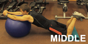 This is middle position for one of the most effective ab exercises - Roll-out