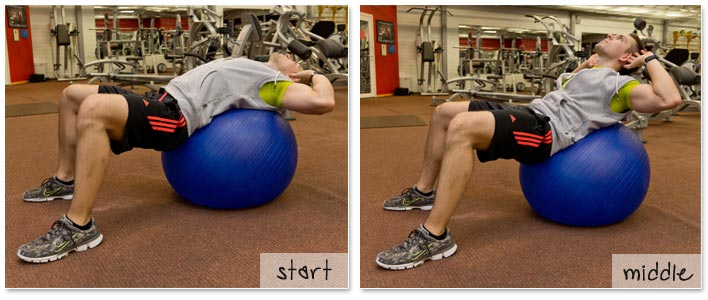 #3 best abs exercise - crunch on exercise ball