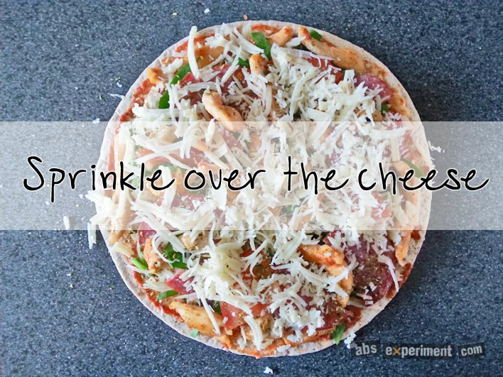 Fitness pizza - step 5 - sprinkle over the cheese