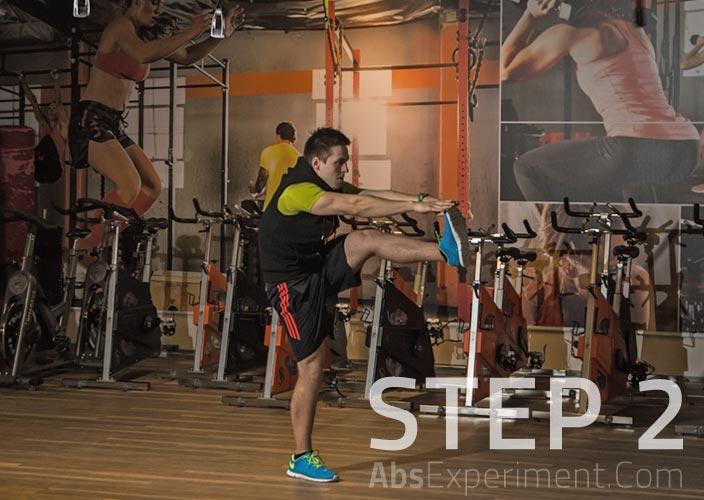 Standing Single Leg V-Ups Step 2